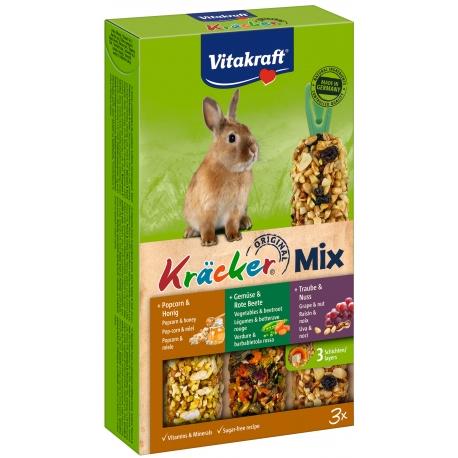 Vitakraft Kracker Mix 3 in 1 Konijn popcorn/groente/noot