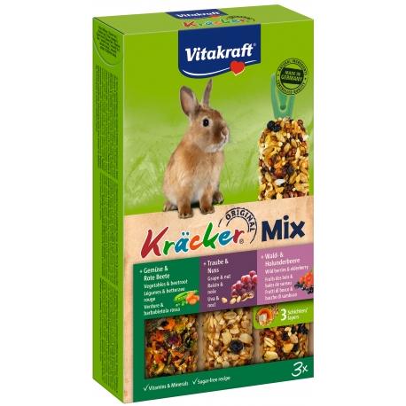 Vitakraft Kracker Mix 3 in 1 Konijn groente/noot/bosbessen