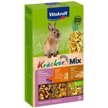 Vitakraft Kracker Mix 3 in 1 Konijn bosbessen/honing/popcorn