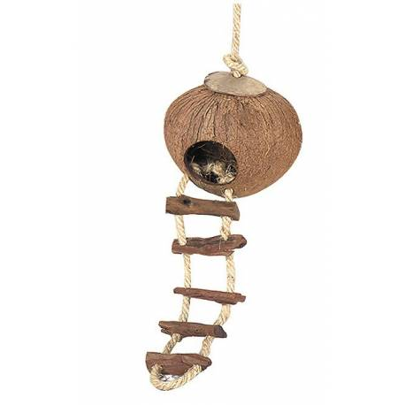COCONUT globe-house w. ladder 130mm - with rope-mounting
