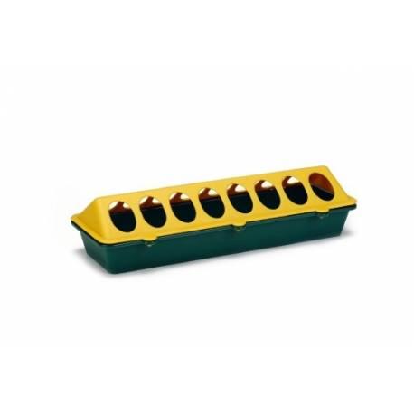 Plastic kuikenvoerbak. Geel, groen. 30 cm.