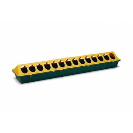 Plastic kuikenvoerbak langwerpig. Geel, groen. 50 cm.