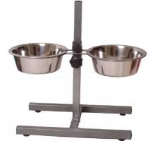 Hondenstandaard zwart met 2 RVS bakken