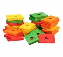 Gekleurde platte houten blokjes, 29 stuks