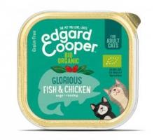 Edgard & Cooper Adult Kat Vis & kip Biologisch Kuipje 85g