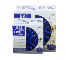 Eat Slow Live Longer Round Feeder Blauw Large