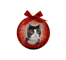 Kerstbal Frosted Kat zwart/wit