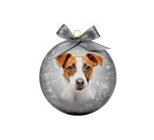 Kerstbal Frosted Jack Russell