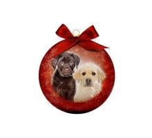 Kerstbal Frosted Labrador Pups