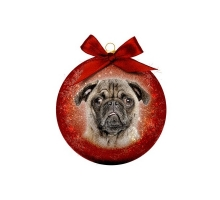 Kerstbal Frosted Pug