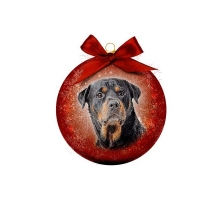 Kerstbal Frosted Rottweiler