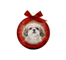 Kerstbal Frosted Shih Tzu